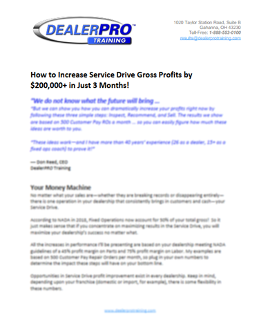 How to Increase Service Drive Gross Profits by $200,000+ in Just 3 Months!