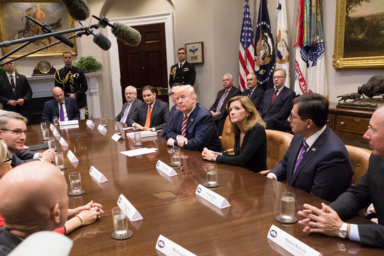 President Donald Trump met with business leaders and experts on Oct. 31, 2017, shortly before...