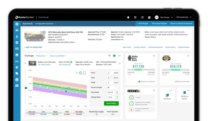 DealerSocket's Single Page Appraisal solution was designed to reduce appraisal time and offer comparative market and dealership data, among other benefits.  - Photo courtesy DealerSocket