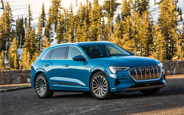 The 2019 Audi e-tron SUV, the first fully electric Audi in the U.S., has earned Green Car Reports' Best Car to Buy 2020 Award. - Photo courtesy of Audi Newsroom