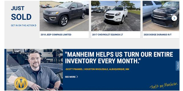 Sales now available to clients at Manheim sites in Tennessee, Florida and Pennsylvania.