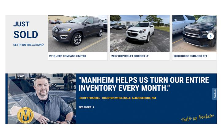 Sales now available to clients at Manheim sites in Tennessee, Florida and Pennsylvania. -