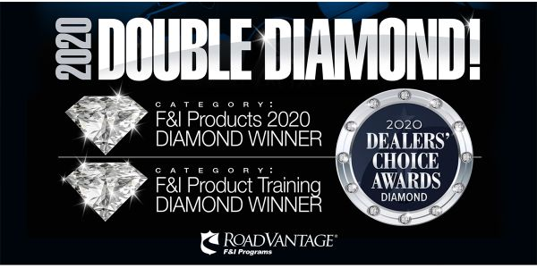 RoadVantage, the #1-rated F&I provider, wins two 2020 Diamond Dealers' Choice Awards in the F&I...