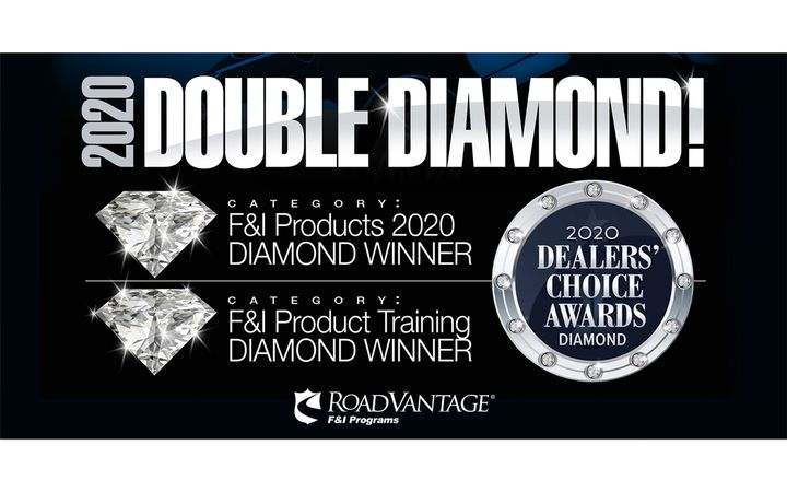 RoadVantage, the #1-rated F&I provider, wins two 2020 Diamond Dealers' Choice Awards in the F&I Products and F&I Product Training categories as chosen by Dealers nationwide. - IMAGE: RoadVantage
