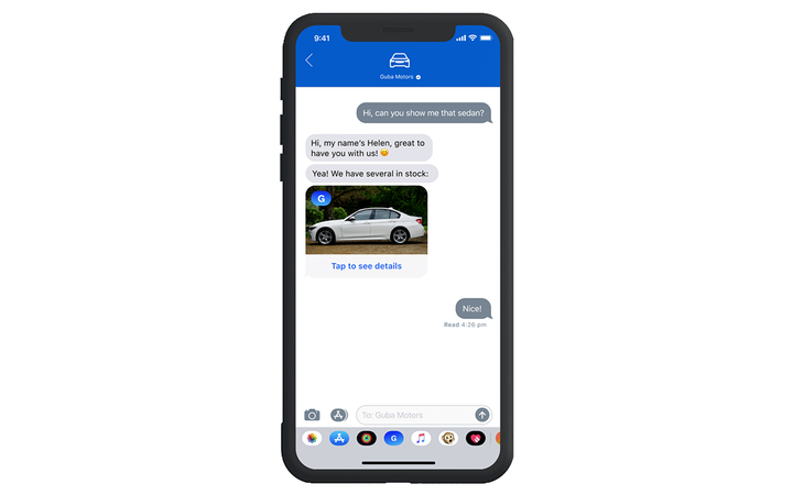 "Gubagoo now supports Apple Business Chat with a consumer-facing ""Chat with Messages"" button on Gubagoo-enabled dealer websites. 