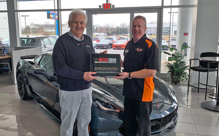 "EasyCare's Steve Richards (left) joined dealer Tim Roberts at Central Indiana's Champion Chevrolet of Avon, which is now able to brand its pre-owned units as ""Motor Trend Certified"" as part of an exclusive agreement. 