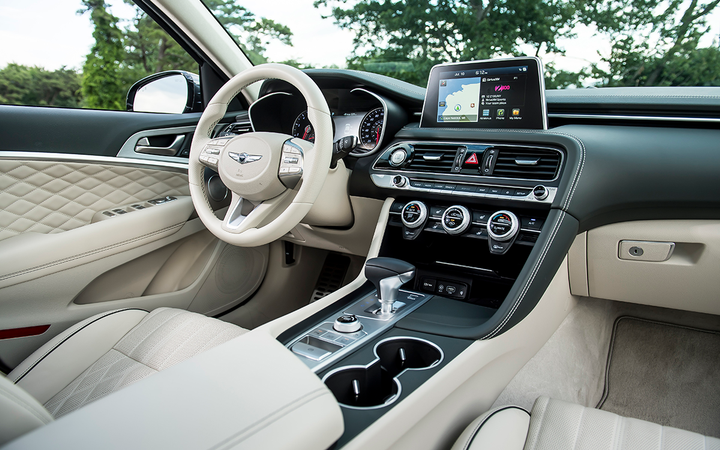An available Prestige package upgrades the Genesis G70's already luxurious cabin but doesn't push the vehicle's price tag past the $50,000 mark. 