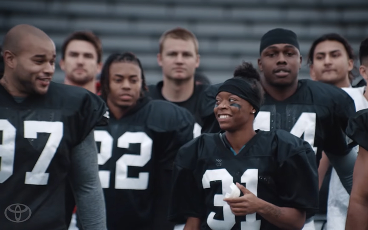 "Toyota's new RAV4 Hybrid commercial stars Antoinette Harris, one of very few female players to have earned a college football scholarship. ""Toni"" pushed Toyota to the top of Kelley Blue Book's Super Bowl brand-volume rankings. 