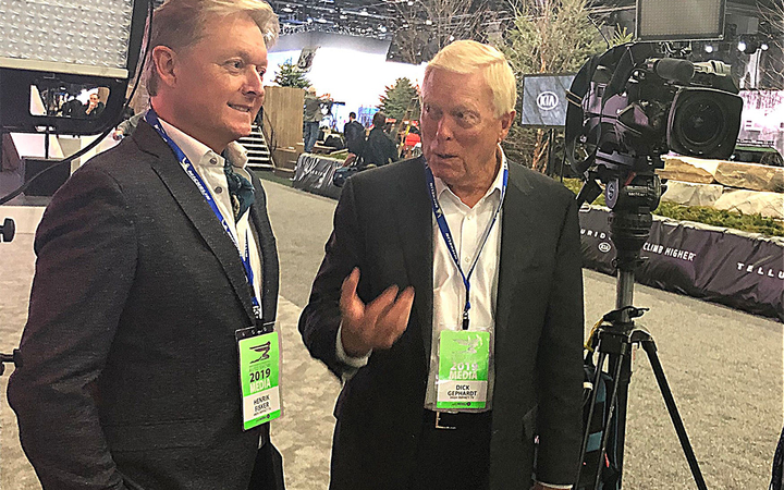 "Fisker Inc. Chairman and CEO Henrik Fisher (left) was joined by former U.S. Rep. Richard ""Dick"" Gephardt at the 2019 North American International Auto Show. 