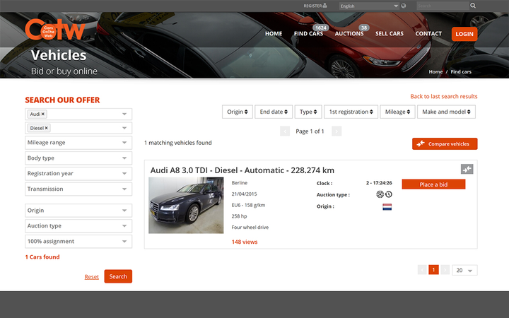 Belgium-based CarsOnTheWeb is now a wholly-owned subsidiary of KAR Auction Services.