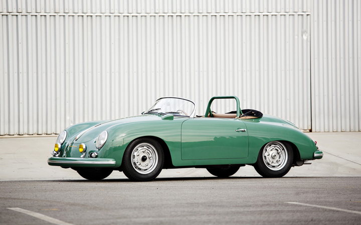 It might not be real, but it's spectacular: The vehicle in question is billed as a 1958 Porsche 356 A 1500 GS/GT Carrera Speedster. 