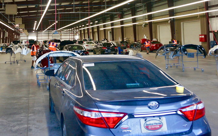 The new body shop has a stated capacity of 160 vehicles per day, aided by two 140-foot paint booths built to accommodate up to seven units at a time.   -