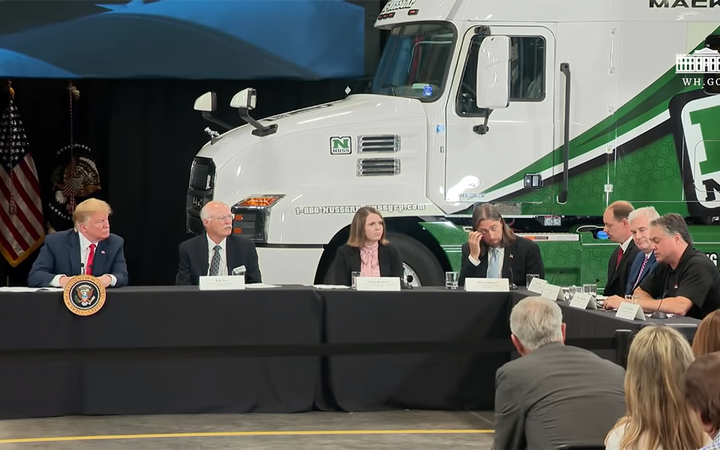 Dealer Bob Nuss (second from left) welcomed President Donald Trump to a tour of and panel discussion at Nuss Truck and Equipment. 