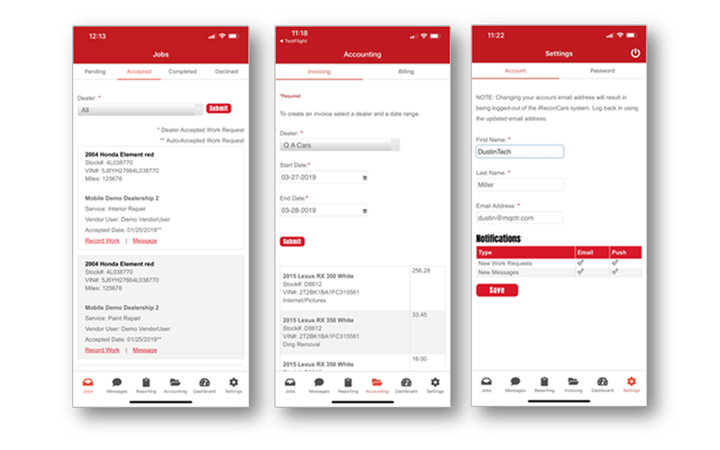 The new iRecon: Vendor mobile app includes work request documentation, digital invoices, and push notifications, among other features. 