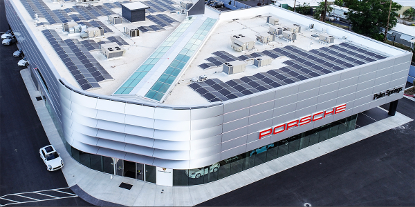 Porsche of Palm Springs' roof is covered with 576 360-watt solar panels.