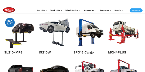 "Rotary Lift's ""Find My Lift"" tool was designed to facilitate and enhance the vehicle lift..."