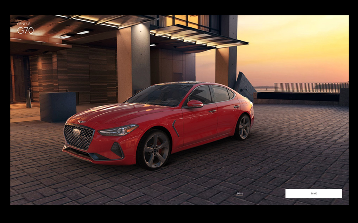 The Genesis virtual showroom includes a 3D configurator that uses CAD data taken directly from the factory's product development, as well as detailed textures and mapping, to create a 360-degree photosphere of a vehicle in a city landscape.   - Photo courtesy Genesis Motor America