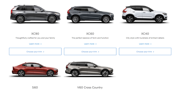 Some variants of the S60, V60, XC60, and XC90 have joined the XC40 in the Care by Volvo...