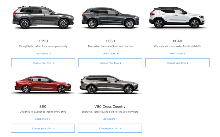 Some variants of the S60, V60, XC60, and XC90 have joined the XC40 in the Care by Volvo subscription program. 