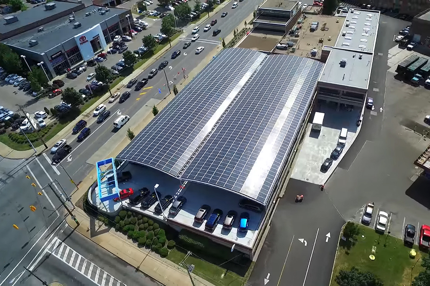 Foundation Honda's parking structure is covered by a massive solar canopy that is made from 80%...