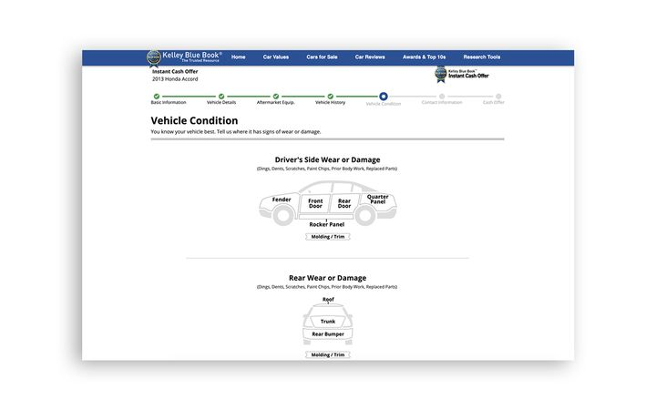 """Kelley Blue Book's Instant Cash Offer interface now includes a """"modern, user-friendly"""" vehicle condition assessment process.  - Photo courtesy Kelley Blue Book"""