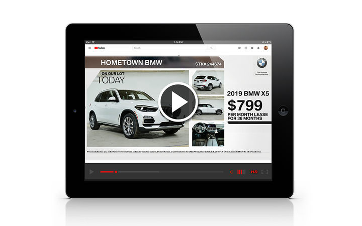 On YouTube and Google, UnityWorks' Dynamic Inventory Video Ads start off with a model and dealer-selected offer followed by VINs directly from the dealer's inventory. 