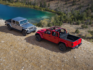 The Gladiator lineup includes Overland (left) and Rubicon editions.