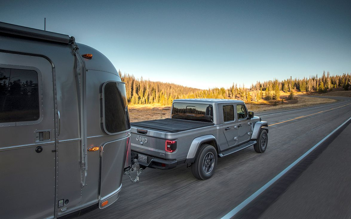 Towing and payload capacity for the 2020 Jeep Gladiator maxes out at 7,650 and 1,600 pounds,...