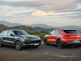The 2020 Porsche Cayenne Coupe (right) and Cayenne Turbo Coupe are due in showrooms this fall...
