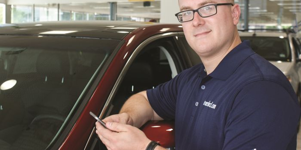 At Winner Ford in Cherry Hill, N.J., Digital Marketing Manager Andy Dasher is using a...