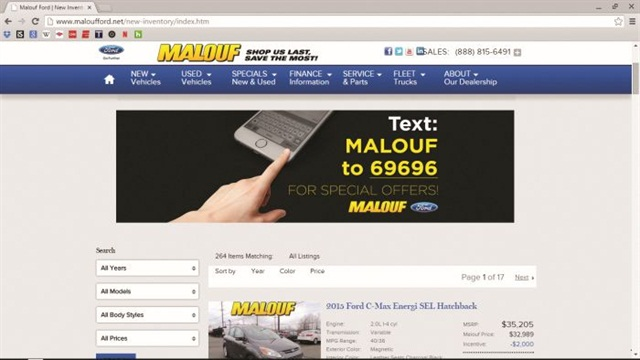 "Malouf Ford in North Brunswick, N.J., recently added an orange ""Text Us"" link to the top of its home page and vehicle listing pages, along with callouts asking visitors to use a keyword/short code to receive special offers."