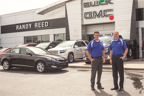 Randy Reed (right), owner and president of Randy Reed Automotive, stands with son Trevin, the two-rooftop auto group's manager. The Reed family formally opposed an ACA provision that requires employers to cover emergency contraception in their employees' health plans.
