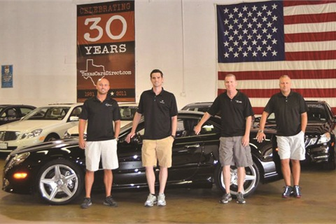 Texas Cars Direct's finance team includes (L–R) Kyle Murphy, Seth Matthews, Adam Wolkowitz and Dewayne Gill.