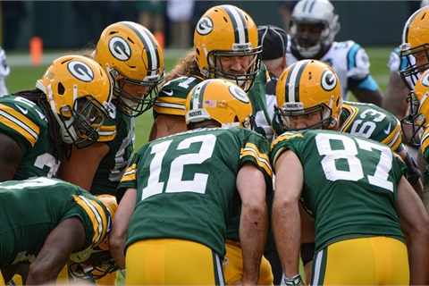 Aaron Rodgers is the latest in a long line of Pro Bowl quarterbacks for the Green Bay Packers, leading to a legacy of pass-happy offensive attacks. Photo by Mike Morbeck via Flickr