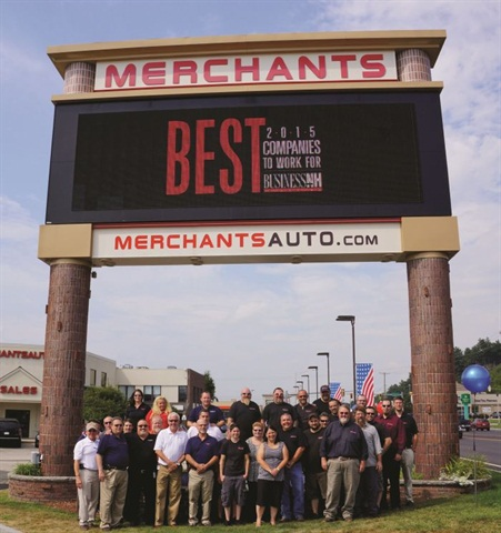 Merchant Auto prides itself on careful hiring and very low turnover. The dealership has not lost a sales-department employee since 2012.