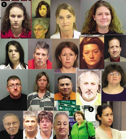 Pictured above are some people accused of embezzling from car dealers in the past five years, including (1) Ashley Coffey and (2) Patricia K. Smith.