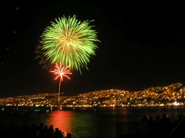 Revelers cheer New Year's fireworks in Valparaiso, Chile.Photo by Andrés Aguiluz Rios