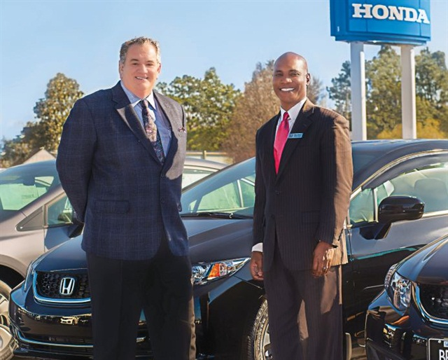 Ecommerce Director Rico Glover (right) and General Manager Tim Roussell are driving a restructuring of Bryan Honda in Fayetteville, N.C., where Glover's online marketing efforts include multiple, ongoing social media campaigns.