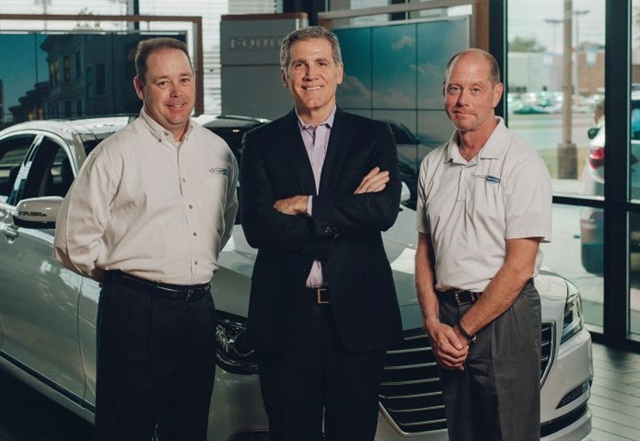 Allen Turner stands with General Manager Chris Jones (left) and Digital Marketing Manager Mark Rask on the Allen Turner Hyundai show floor. The management team encourages employees to ask every sales and service customer for a DealerRater review, a policy that has generated a 4.9 score from more than 1,100 responses.