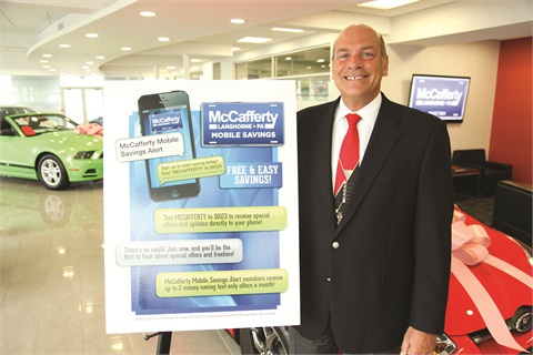 Todd Buch, president of McCafferty Auto Group, is using a new mobile marketing channel to reel in potential customers who use their smartphones to access the dealer group's websites.
