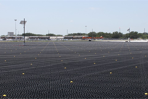 A TrueGrid permeable paving system is one of three projects in a recently completed two-year improvement initiative at Houston's Manheim Texas Hobby auction. Photo courtesy Manheim