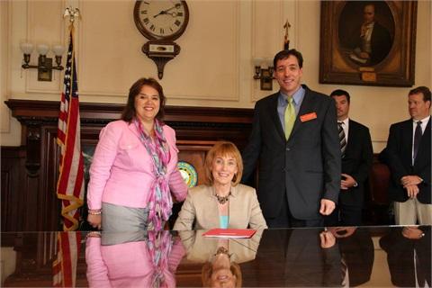 Donna Gaudet Hosmer, immediate past NHADA chair, Governor Maggie Hassan, and Peter J. McNamara, NHADA president. Photos by Nat Stout, NHADA
