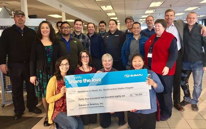 "Subaru's annual ""Share the Love"" sales event has resulted in $50,000 donations from the manufacturer to an Anchorage charity for the past several years.  - Photo courtesy Continental Automotive Group"