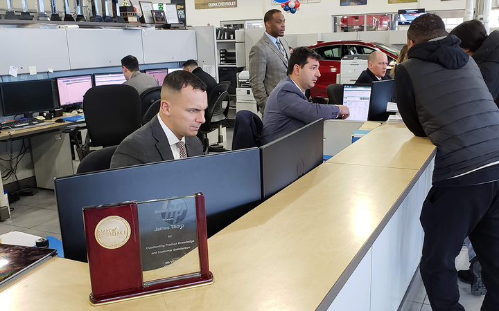 "Thorp says the majority of Quirk Chevrolet's customers encounter Merchanthouse's team ""at some point,"" giving the BDC credit for more than the 600 customers they are known to bring in each month. 