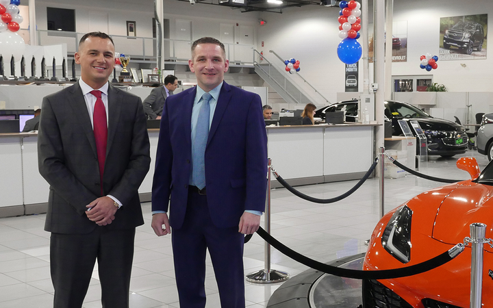 General Manager Jim Thorp (left) and Business Development Manager Greg Merchanthouse have driven Quirk Chevrolet of Braintree, Mass., to new heights. 
