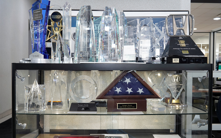Paragon Honda's trophy case includes the manufacturer's President's Award and inclusion in its Masters Circle and Council of Excellence. 