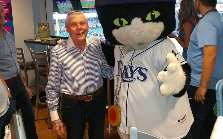 Hawkins is pictured with another Central Florida celebrity, Tampa Bay Rays mascot Raymond.