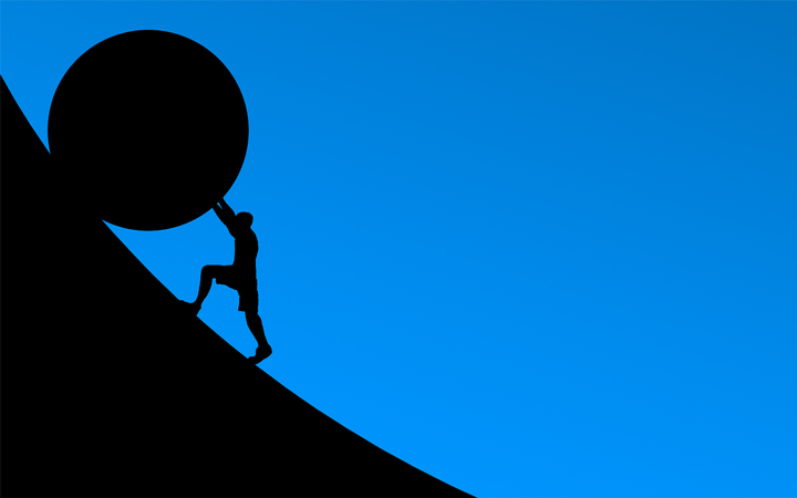 Still pushing the F&I rock uphill? Get the needs-discovery phase out of the way before presenting the menu to reduce resistance and overcome objections earlier in the process.   - Illustration by Elias Sch via Pixabay