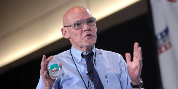 "James Carville famously scrawled ""It's the economy, stupid"" on a blackboard during President..."
