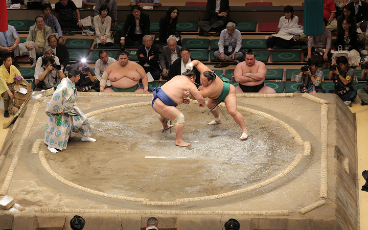 Yokozuna wrestle last, drawing the biggest crowds and guaranteeing the evening ends on a high note.   - Photo by ElHeineken via Wikimedia Commons